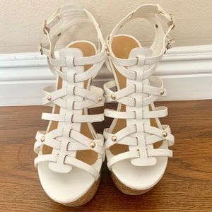 Charlotte Russe White Strappy Wedges
